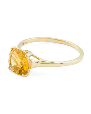 Made In India 14k Gold Citrine And White Topaz Ring