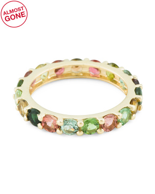Made In India 14k Gold Multi Tourmaline Eternity Ring