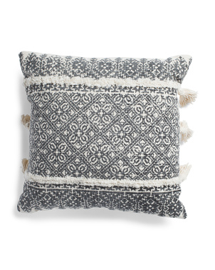 20x20 Floral Printed Tufted Pillow