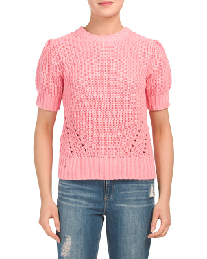 Pleat Shoulder Short Sleeve Sweater