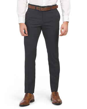 Slim Heathered Subtle Plaid Pants