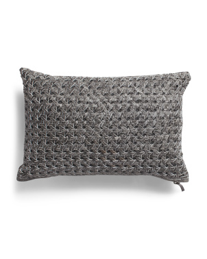 12x18 Genuine Leather Woven Pillow
