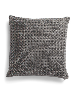 Leather 20x20 Genuine Leather Woven Pillow