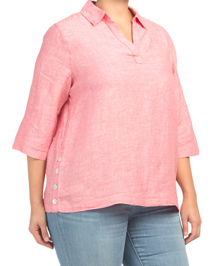 Plus Linen Pullover Top With Side Button Detail