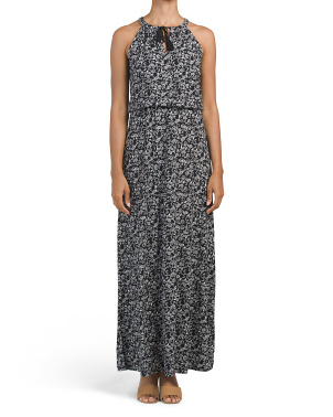 Printed Halter Tie Neck Maxi Dress