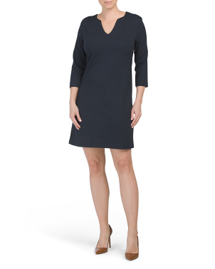 Long Sleeve Split Neck Cover-up Dress