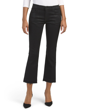 Made In Usa Coated Selena Mid Rise Crop Bootcut Jeans
