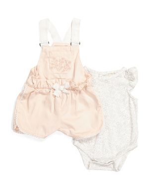 Newborn Girl Shortall & Bodysuit Set