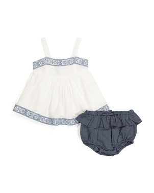 Newborn Girls Boho Top & Bloomer Shorts
