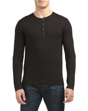 Long Sleeve Henley Sweater With Linking Detail