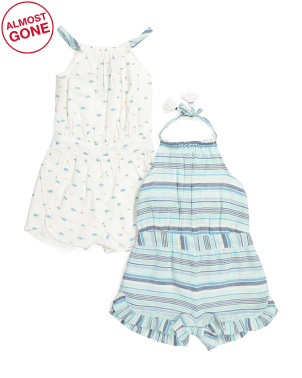 Infant Girl 2 Pack Fish Stripe Rompers