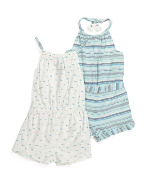 Toddler Girls 2pk Fish Stripe Rompers