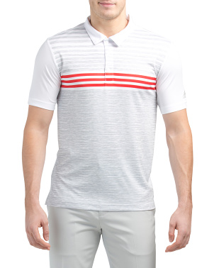 Printed Space Dye Stripe Polo