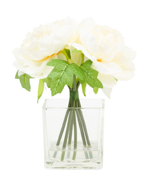 10.75in Tall Silk Peony Arrangement In Glass Pot