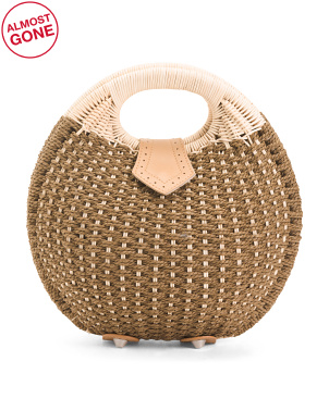 Top Close Round Basket Bag With Cutout Handles