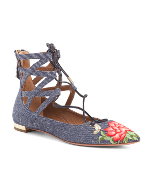 Made In Italy Embroidered Lace Up Flats