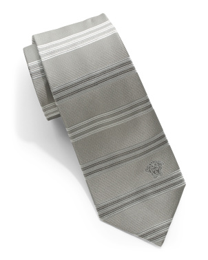 Made In Italy Horizontal Stripe Silk Tie