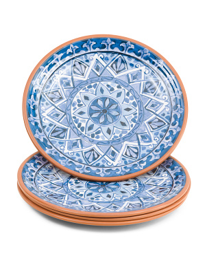 Set Of 4 Outdoor Olympus Tile Dinner Plates
