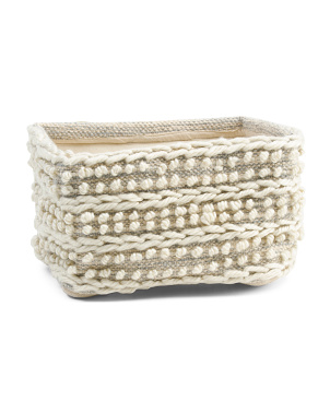 Rectangular Sumak Weave Basket