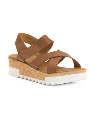 Made In Italy Cross Band Leather Wedge Sandals