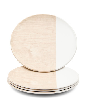 Set Of 4 Outdoor Wood & White Dinner Plates