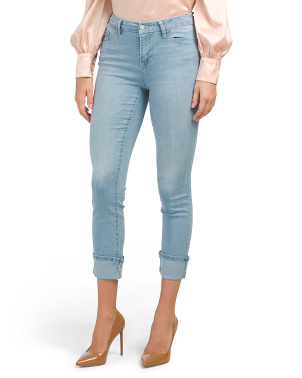 High Waist Cuffed Girlfriend Rolled Cuff Jeans