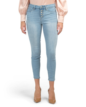 High Waist Exposed Button Fly Denim Ankle Jeans