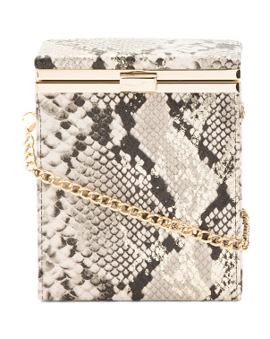 Metallic Wash Snakeskin Embossed Framed Crossbody