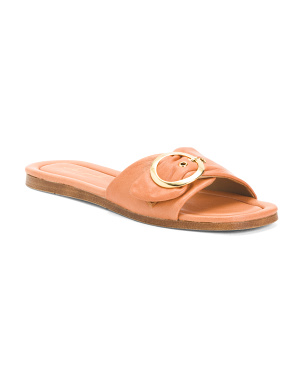 Made In Italy Buckle Leather Slide Sandals
