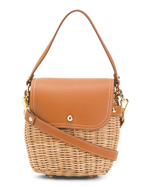 Small Picnic Basket Crossbody With Flap