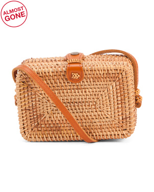 Handmade Square Clutch Rattan Crossbody