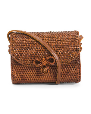 Handmade Bow Clasp Dark Camera Rattan Bag