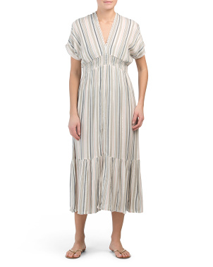 Striped Smocked Cover-up Maxi Dress