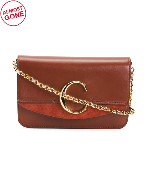 Made In Italy Leather  Small Crossbody With Chain Strap