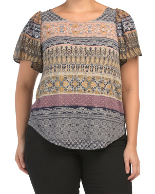 Plus Printed Woven Mix Top
