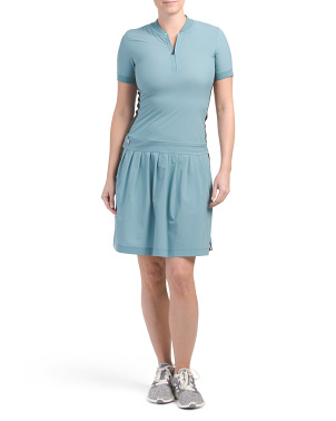 Aerin Short Sleeve Zip Neck Golf Dress With Shorts