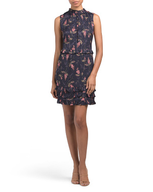 Silk Blend Ivie Fleur Print Jacquard Dress