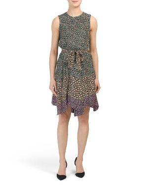 Luisa Floral Mixed Print Silk Dress