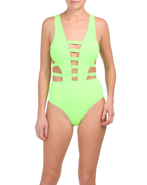 Ribbed Knit Neon Strappy One-piece Swimsuit
