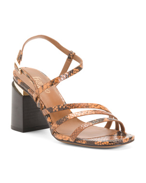 Snake Print Stacked Heel Leather Sandals