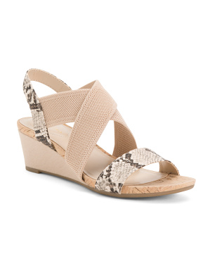 Snake Elastic Cross Band Wedge Sandals
