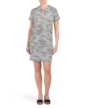 Short Sleeve Camo Hoodie French Terry Dress