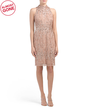 Petite Beaded Pearl Cocktail Dress