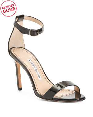 Made In Italy Ankle Strap Patent Leather Sandals