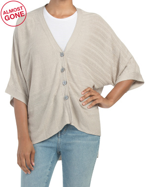 Button Front Linen Blend Poncho Cardigan
