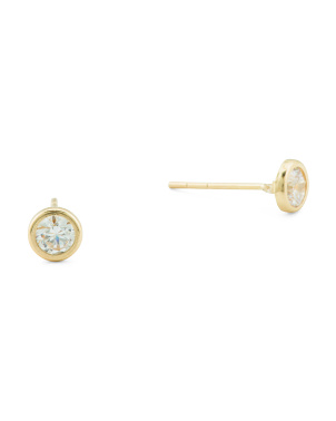 Made In Usa 14k Gold And Swarovski Cz 4mm Stud Earrings