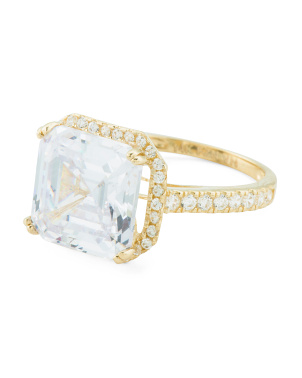 14k Gold And Asscher Cut Cz Ring