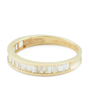 14k Gold Baguette Cz Channel Set Band Ring