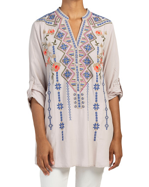 Roll Tab Sleeve Embroidered Boho Top