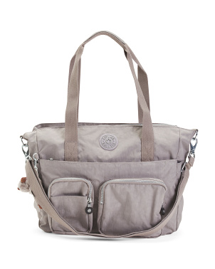 Nylon Sady Double Handle Tote With Crossbody Strap
